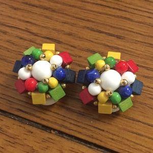 Vintage Multi-color Beaded Clip Earrings